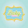 Baby shower frame over blue background illustration Royalty Free Stock Image