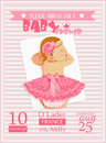 Baby shower girl invitation template vector illustration. Pink, rose, red colors Royalty Free Stock Photo