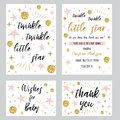 Baby shower girl templates Twinkle twinkle little star text with gold polka dot pink star invtation thank you card Royalty Free Stock Photo