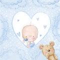 Baby shower greeting card.Baby boy with teddy,Love background for children.Baptism invitation. Newborn card design.