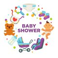 Baby shower greeting card for boy girl birth vector flat invitation design Royalty Free Stock Photo