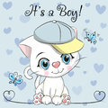 Baby Shower Greeting Card with cute Kitten boy