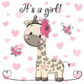 Baby Shower Greeting Card with Giraffe girl Royalty Free Stock Photo