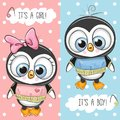 Baby Shower greeting card with Penguins Royalty Free Stock Photo