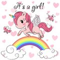 Baby Shower Greeting Card with Unicorn girl