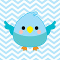 Baby shower illustration with cute baby bird on blue chevron color background Royalty Free Stock Photo