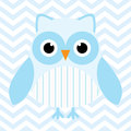 Baby shower illustration with cute blue baby owl on blue chevron background Royalty Free Stock Photo