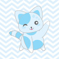 Baby shower illustration with cute blue cat on chevron background Royalty Free Stock Photo