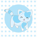 Baby shower illustration with cute blue cat on stars background Royalty Free Stock Photo