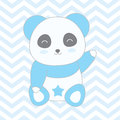 Baby shower illustration with cute blue panda on blue chevron background Royalty Free Stock Photo