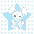 Baby shower illustration with cute blue rabbit on stars background Royalty Free Stock Photo