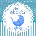 Baby shower invitation with blue background, baby shower for boy, eps10