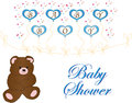 Baby shower invitation card for a boy Royalty Free Stock Images