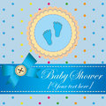 Baby shower invitation card for a boy Royalty Free Stock Image