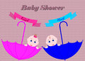 Baby shower invitation card. Cute boy and girl.