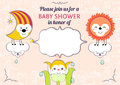 Baby shower invitation card editable template funny cute kawaii animalistic cartoon characters eps vector transparencies used Stock Photo