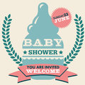 Baby shower invitation card greeting with milk bottle Stock Photography