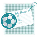 Baby shower invitation card with soccer ball Royalty Free Stock Photo