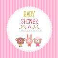 Baby shower invitation card template on pink background Royalty Free Stock Photo
