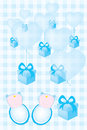 Baby shower invitation card for twin babies boys