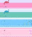 Baby shower invitation collection of cute colored banners Stock Images