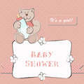 Baby shower invitation with dot background for little girl Stock Photos