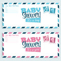 Baby shower invitation greeting cards Stock Images