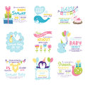 Baby shower invitation vector set.