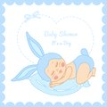 Baby shower little boy sleeping in a bunny costume Royalty Free Stock Photo
