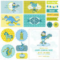 Baby Shower Little Prince Boy Set Royalty Free Stock Photo
