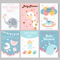 Baby shower party posters Royalty Free Stock Photo