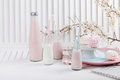 Baby shower in pink and blue with milkshakes Royalty Free Stock Photo