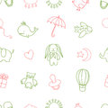 Baby shower related seamless pattern. Hand drawn vector vintage illustration.