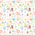 Baby shower seamless pattern. Texture for baby girl and baby boy Royalty Free Stock Photo