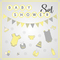 Baby shower set cute baby clipart of details Stock Photos