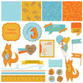 Baby shower set with cute foxes scrapbook design elements in Royalty Free Stock Photo