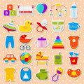 Baby shower stickers. Set icons. Vector illustration.