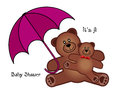 Baby shower teddy bears mom and with umbrella and text message its a Royalty Free Stock Image