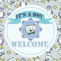 Baby shower and welcome greeting card. Text It`s a Boy, Welcome. Royalty Free Stock Photo