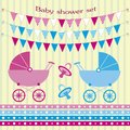 Baby showers set cute boy and girl Royalty Free Stock Photography