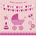 Baby showers set cute girl Royalty Free Stock Photo