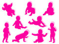 Baby silhouettes Royalty Free Stock Photo