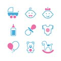 Baby simple vector icon set Royalty Free Stock Photo