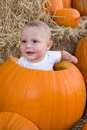 Baby sitting in hollow pumpkin Stock Photography
