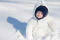 Baby Sitting in the Snow Royalty Free Stock Photo