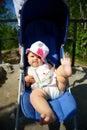 Baby In Sitting Stroller On Na...