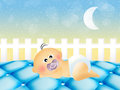 Baby sleep on the bed illustration of Royalty Free Stock Photography