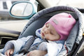 Baby sleep in a car Stock Photos