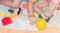baby sleep among toy Royalty Free Stock Photo