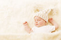 Baby Sleeping, Newborn Kid Portrait in Hat, New Born Royalty Free Stock Photo